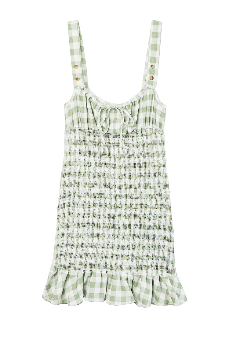 Cara Dress Sage Gingham
