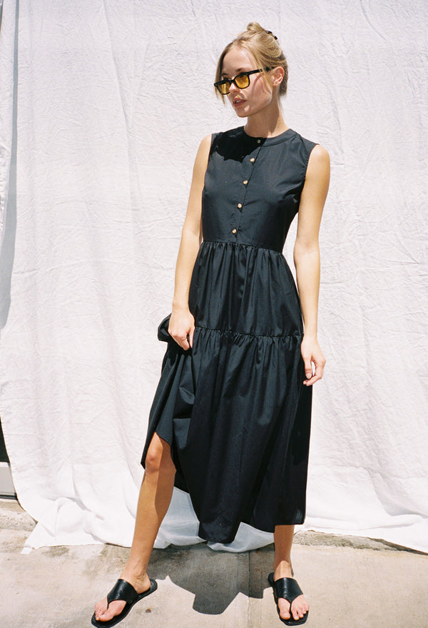 Freya Dress Black Cotton