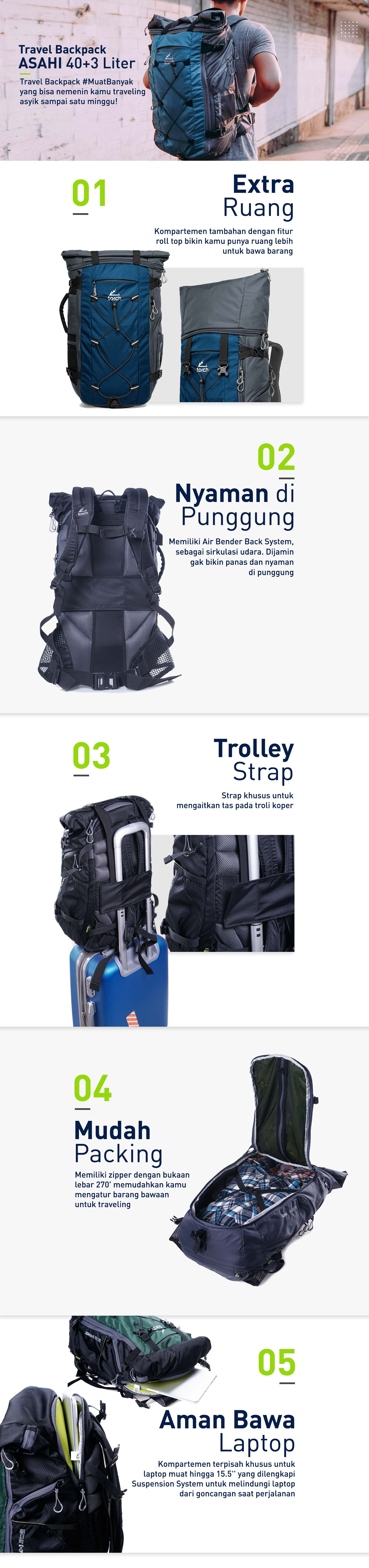 landing page travel backpack torch asahi