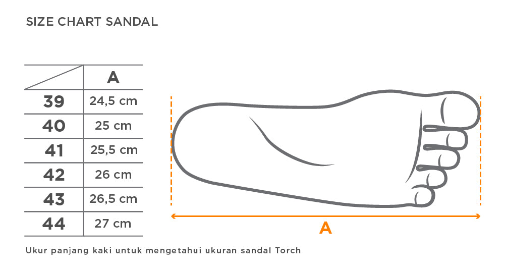 Size Chart Sandal Arrafa Torch Men Series