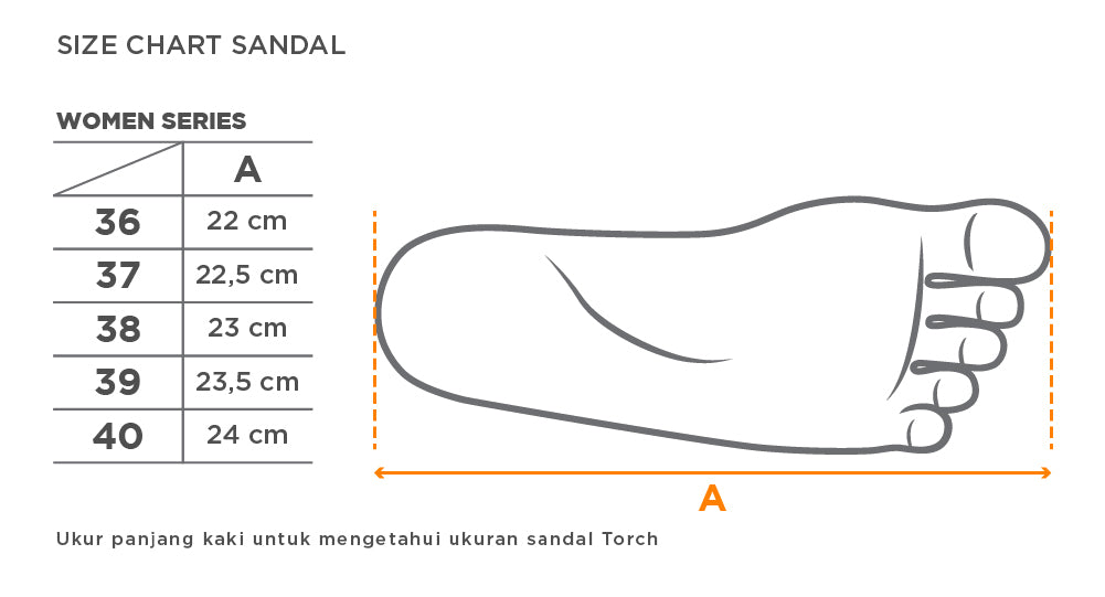 Size Chart Sandal Arrafa Torch Women Series