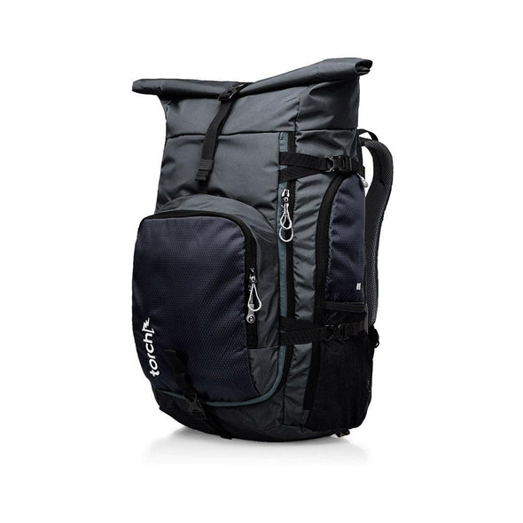 Tampak samping kiri tas ransel traveling Torch, Rio Travel Backpack 40+3 Liter.