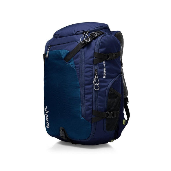 Tampak samping kiri tas ransel traveling Torch, Takahagi Travel Backpack 40 Liter.