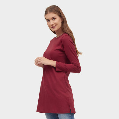Tunik Long Basic Women - Burgundy