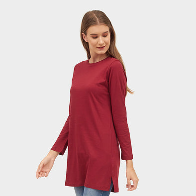 Tunik Long Basic Women - Maroon