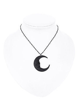 Skull Moon Black Pewter Pendant