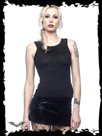Queen of Darkness Black roses singlet top