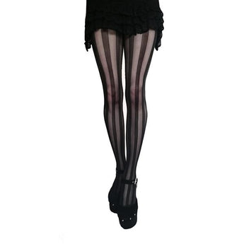 Black Vertical Sheer Striped Tights