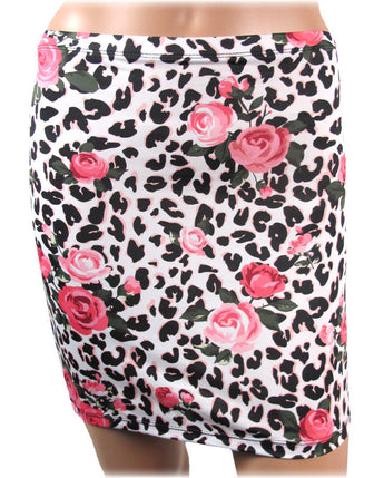 Liquorbrand Bodycon skirt with Pink Roses and Leopard print