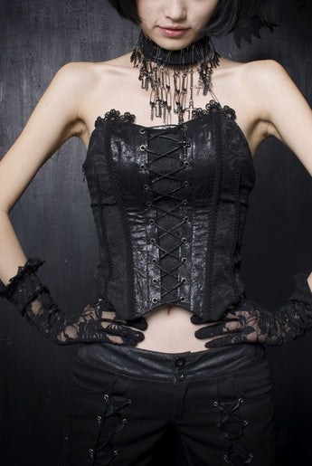 Punk Rave Aristocrat lolita corset top with Detachable Black Lace Veil