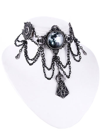 Moon and Geometry Choker by Restyle