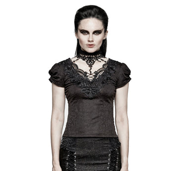 Gothic Victorian Arches and Roses Top with Lace Collar Detail and Veil