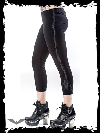 Queen of Darkness Zip Print Capris Pants 3/4 Length Leggings