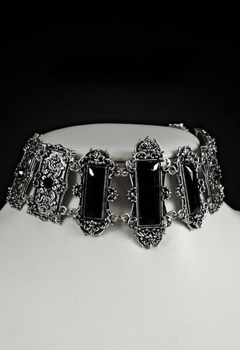'Vivian' Pewter Gothic Victorian Choker with Black Stones