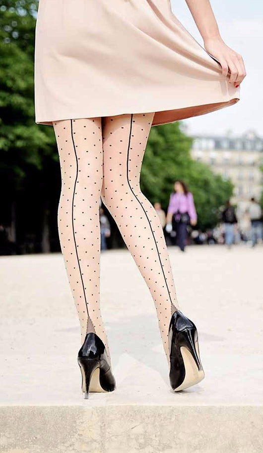 Seamed Black Polka Dot Tights