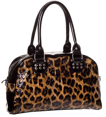 Banned Leopard Print Bowling Bag in Gloss PVC