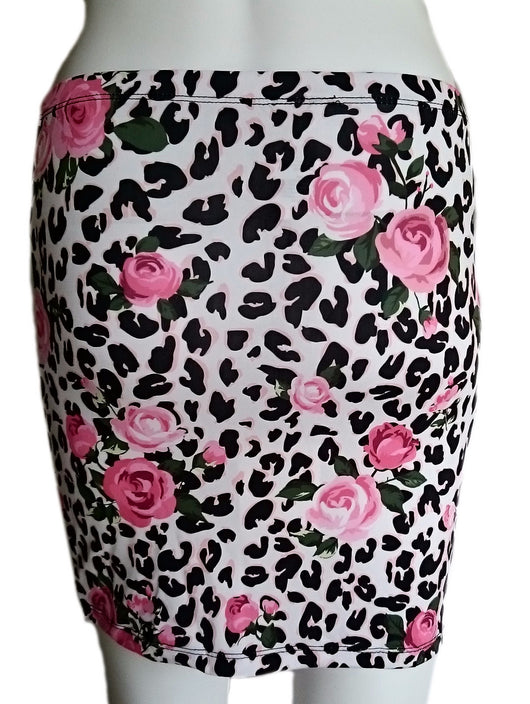 Bodycon skirt with Pink Roses and Leopard print