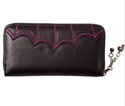 Salem purple embroidered Bats Wallet