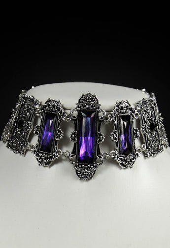 'Vivian' Pewter Gothic Victorian Choker with Violet Stones