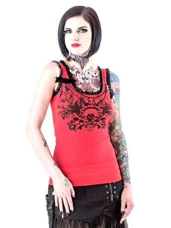 Red printed Skull and Lace Singlet with detachable Charm
