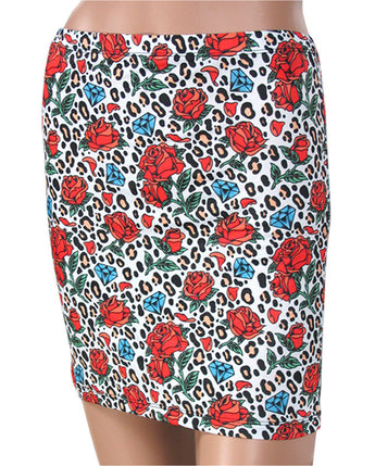 Liquorbrand Leopard Print Skirt with Tattoo Roses and Diamonds