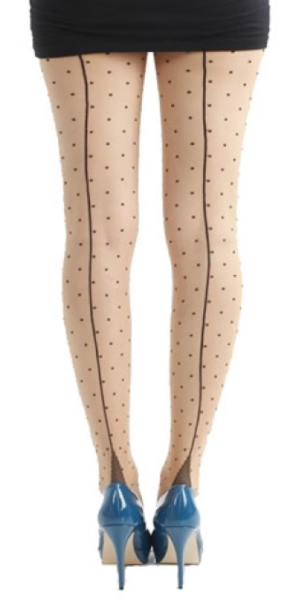 Seamed Black Polka Dot Tights by Pamela Mann