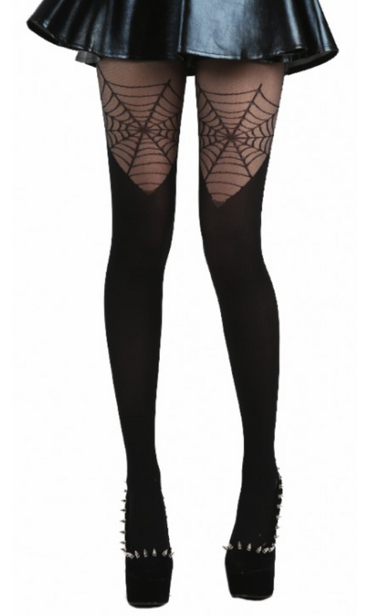 Spiderweb Over the Knee Tights by Pamela Mann