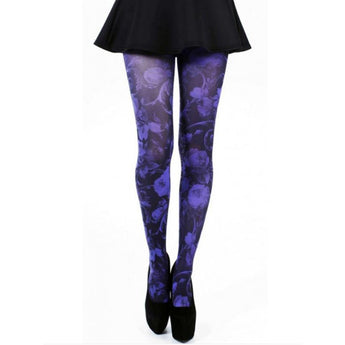 'Twilight' Baroque Purple Floral Tights