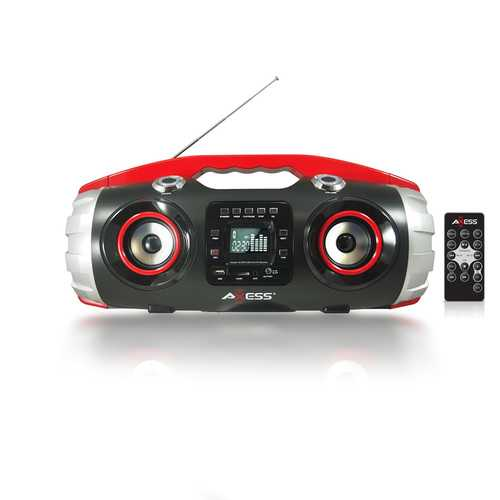 AXESS Portable Bluetooth FM Radio CD MP3 USB SD Heavy Bass Boombox Red