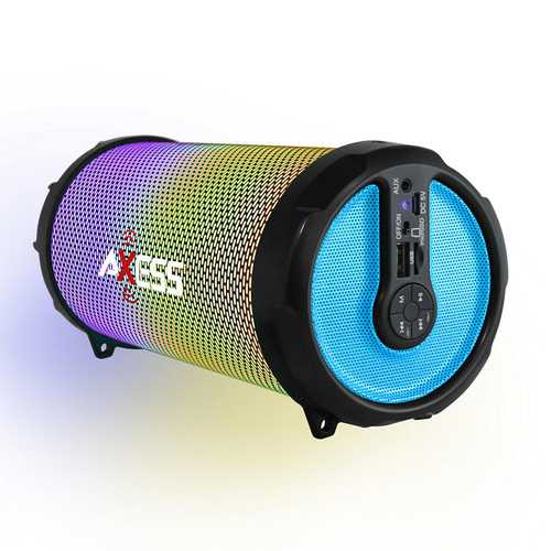 AXESS Vibrant Plus Black HIFI Bluetooth Speaker with Disco LED Lights In Blue