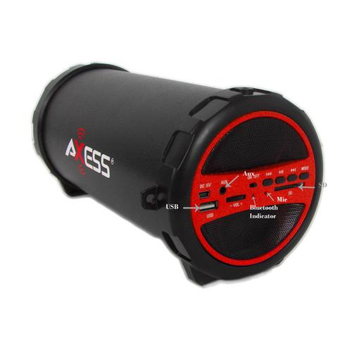 Axess Portable Bluetooth Indoor/Outdoor Hi-Fi Cylinder Loud Speaker with SD Card and USB Input in Red Color