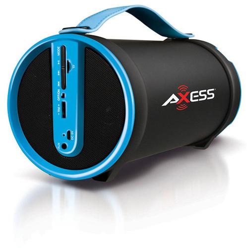 Axess Blue Portable Bluetooth IndoorOutdoor 2.1 HiFi Cylinder Loud Speaker with BuiltIn 4 Inch Sub