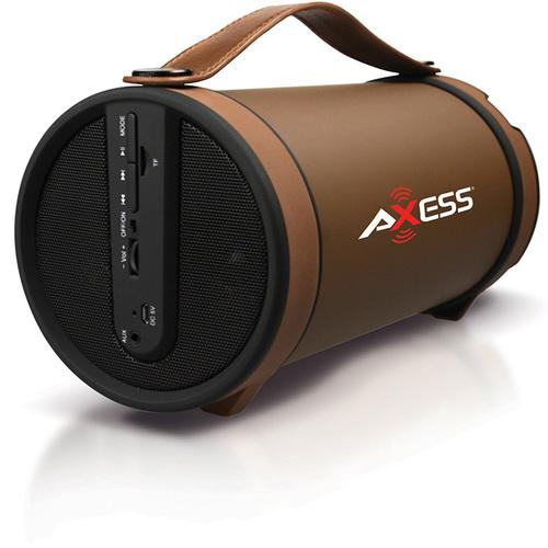 Axess Brown Portable Bluetooth IndoorOutdoor 2.1 HiFi Cylinder Loud Speaker with BuiltIn 4 Inch Sub