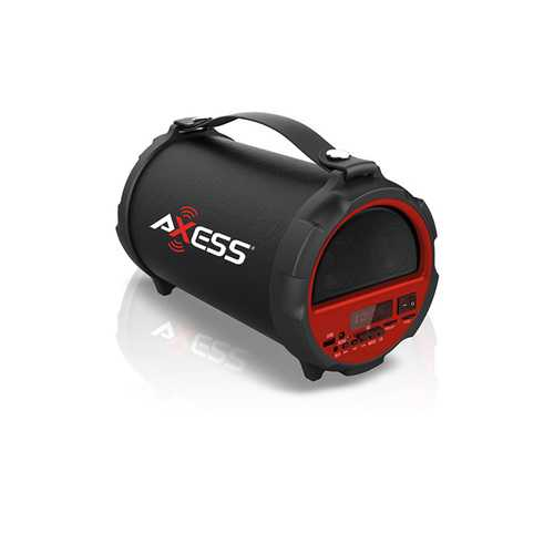 "AXESS Bluetooth In-Outdoor 2.1 Hi-Fi Cylinder Loud Speaker  Built-In 4"" Sub Red"