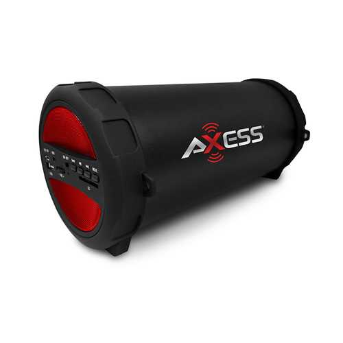 Axess Portable Thunder Sonic Bluetooth Cylinder Loud Speaker BuiltIn FM Radio SD Card USB AUX Red