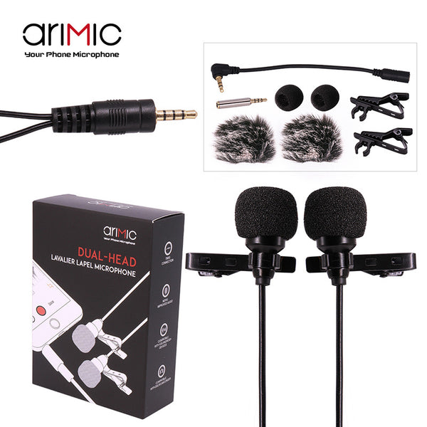 Mki Audio - Dual-Head Clip on Lavalier Omnidirectional Recording Mic for Phones