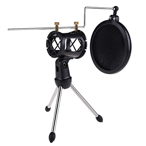 Mki Audio - Condenser Microphone Stand Desktop Tripod for Microphone with Windscreen Filter Cover