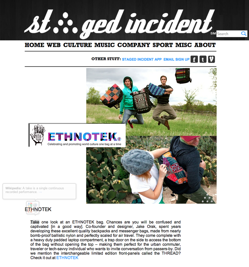 Staged Incident Spotlights Ethnotek Bags