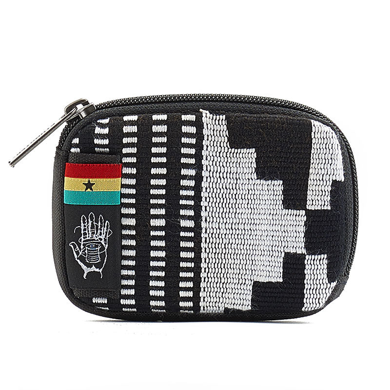 Small pocket wallet with zipper and RFID blocking ghana-kente