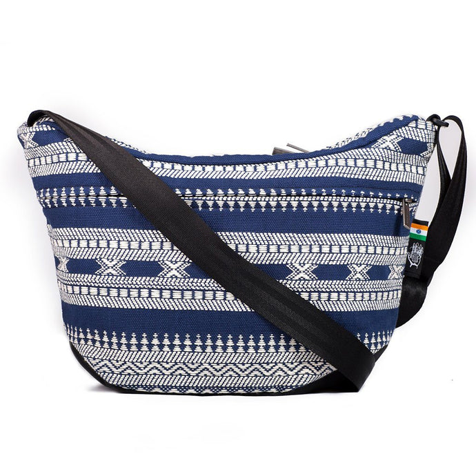 Ethnotek-bagan-cross-body-shoulder-bag-black-india14-blue-and-white-artisan-fabric - india-14 hover-india