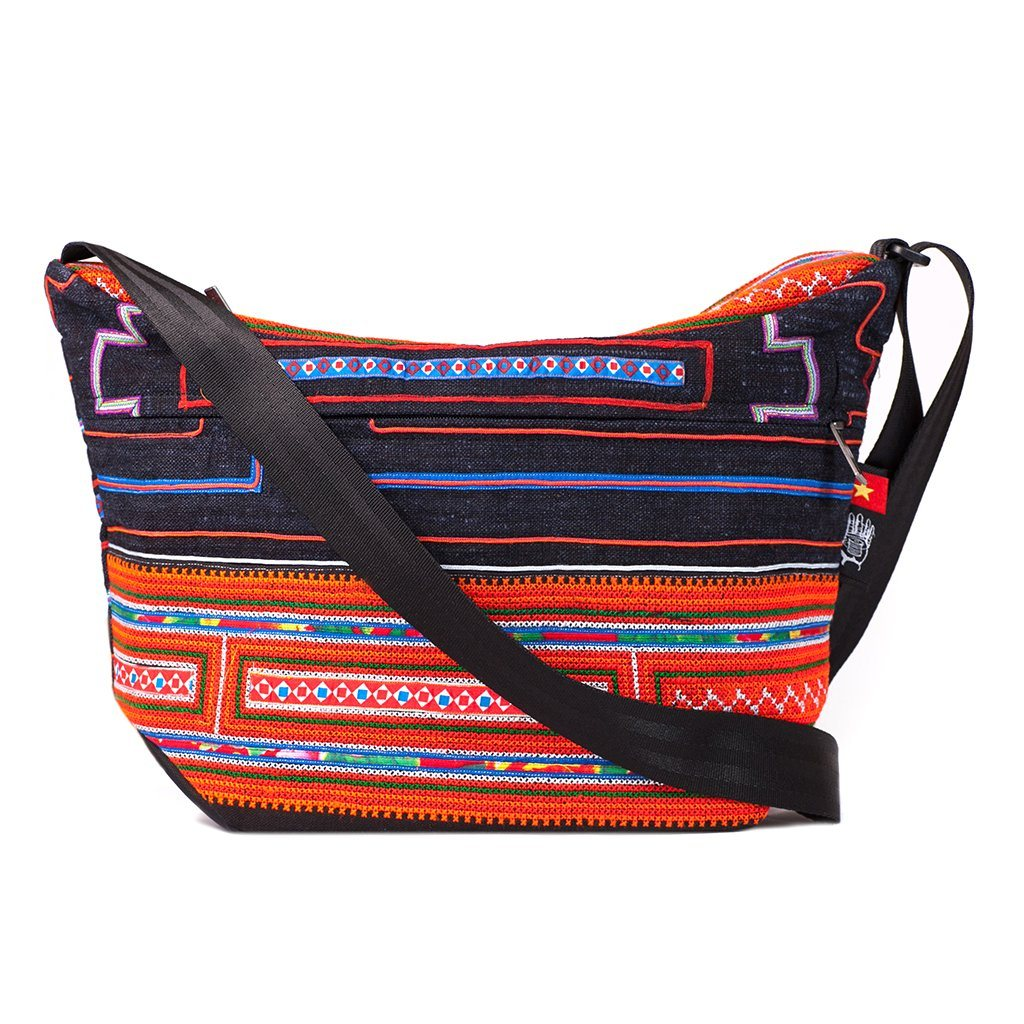 Ethnotek-bagan-cross-body-shoulder-bag-black-vietnam6-blue-and-orange-artisan-fabric - vietnam-6 hover-vietnam