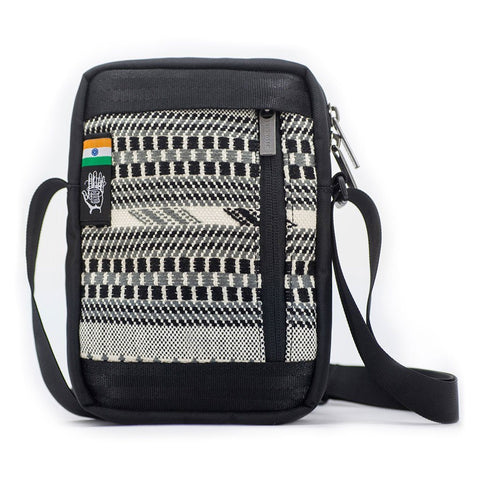 Ethnotek-chaalo-everyday-shoulder-bag-india8-black-and-white-vegan - india-8 hover-india