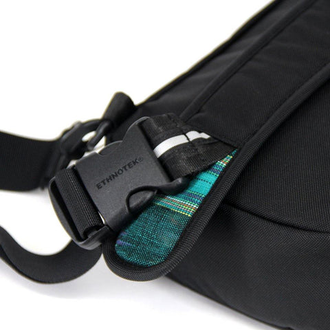 Ethnotek-jalan-cross-body-sling-bag-black-guatemala4-teal-green-side-release-buckle