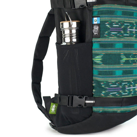 Ethnotek-premji-travel-daypack-guatemala4-teal-green-water-bottle-pocket