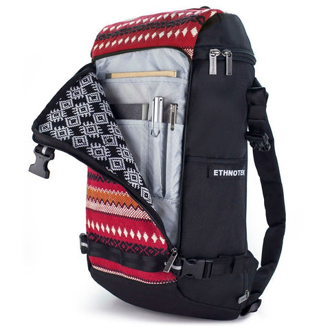 Ethnotek-premji-travel-daypack-india11-red-organizer-pocket