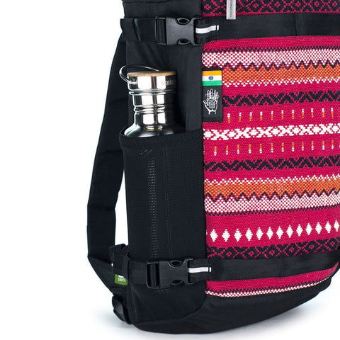 Ethnotek-premji-travel-daypack-india11-red-water-bottle-pocket