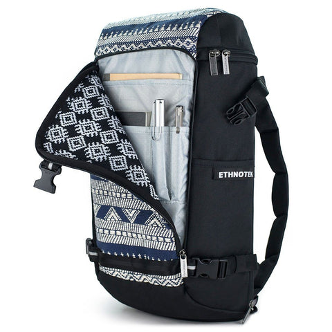 Ethnotek-premji-travel-daypack-india14-blue-and-white-organizer-pocket