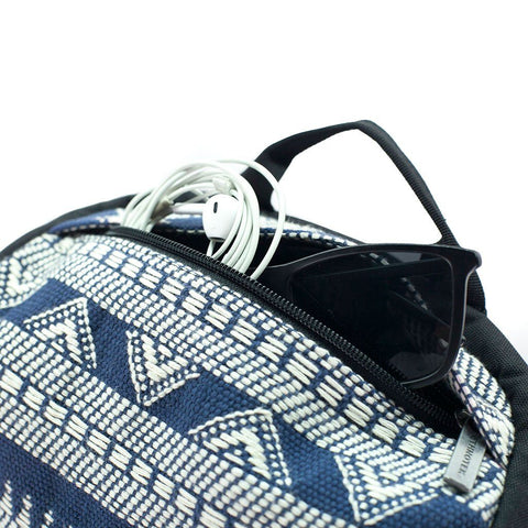 Ethnotek-premji-travel-daypack-india14-blue-and-white-sunglass-pocket