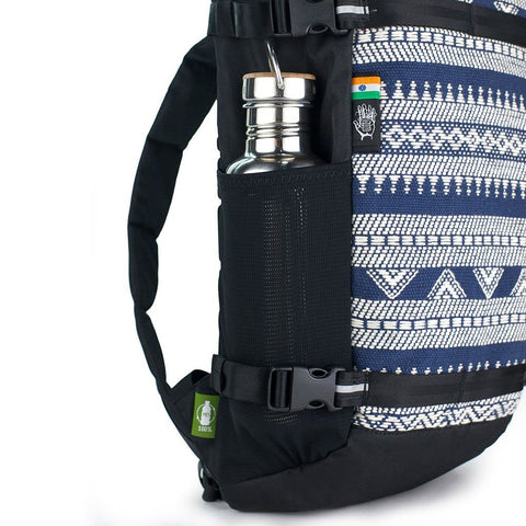 Ethnotek-premji-travel-daypack-india14-blue-and-white-water-bottle-pocket