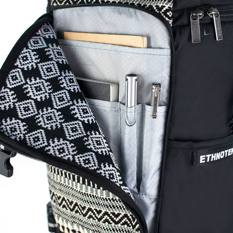 Ethnotek-premji-travel-daypack-india8-black-and-white-fits-ipad